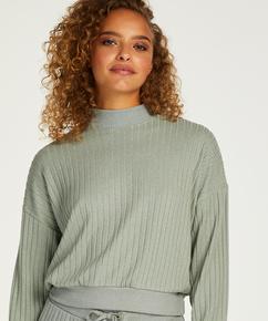 Brushed Long Sleeved Rib Top, Green
