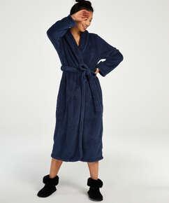 Long Fleece Bathrobe, Blue