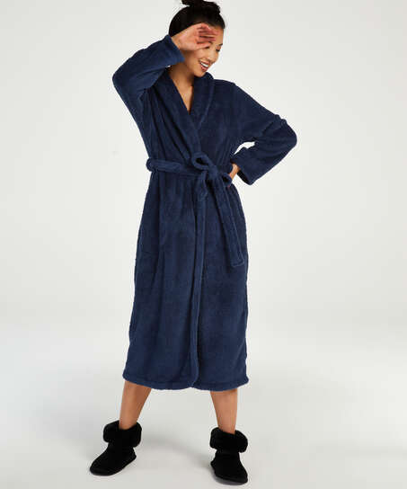 Long Fleece Bathrobe, Blue
