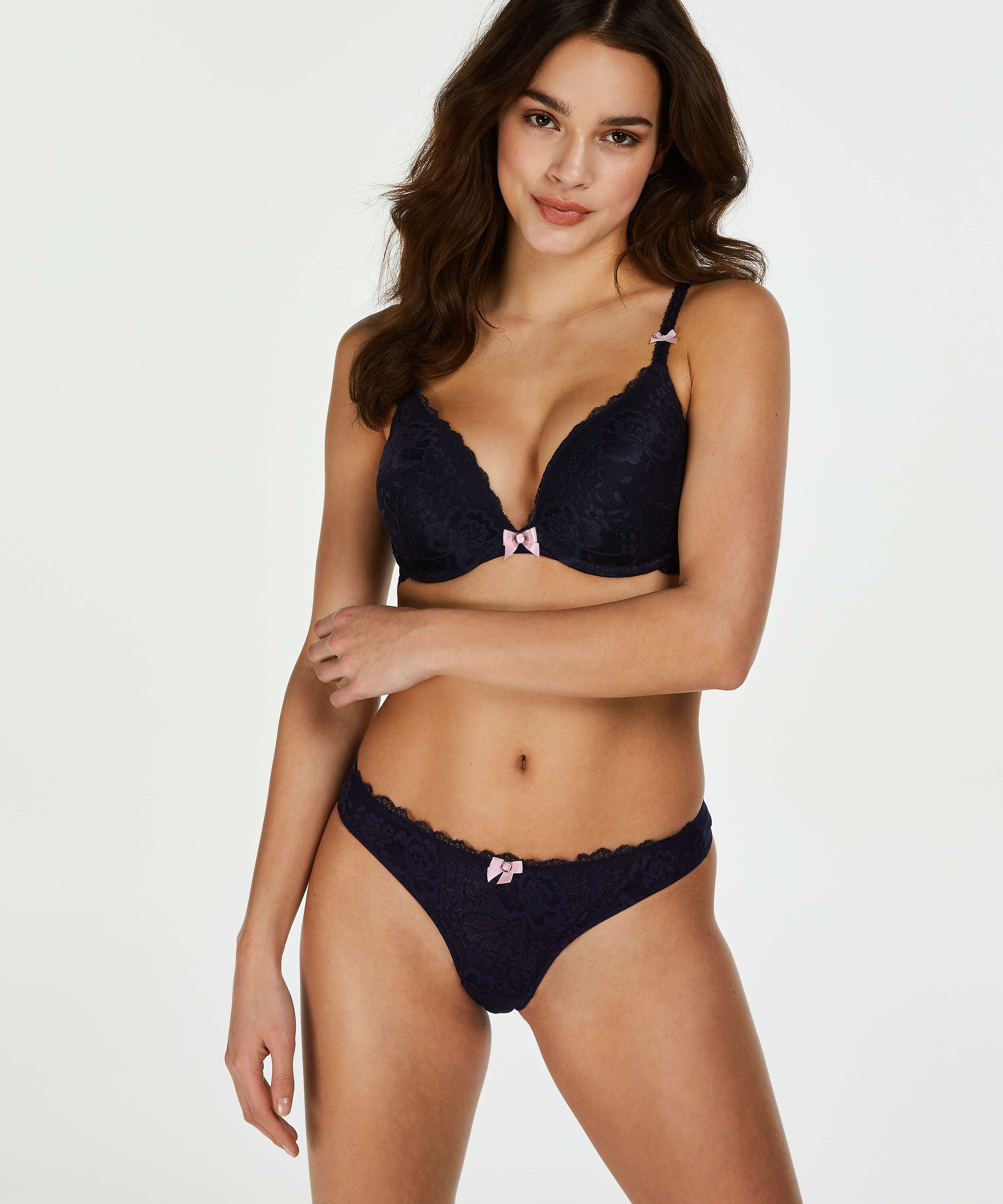 Maya Padded Underwired Push-Up Bra, Blue, main