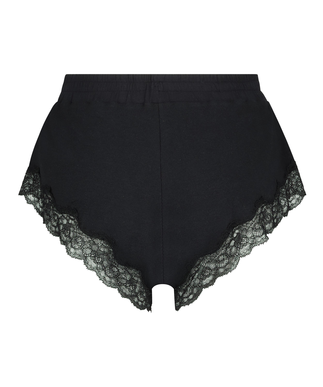 Shorts rib lace Mia, Black, main