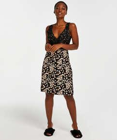 Daisy Modal Lace Slip Dress, Black
