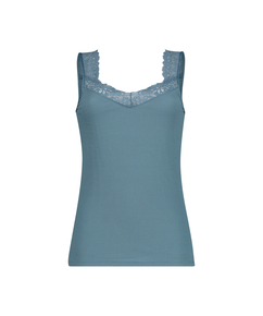 Ribbed Lace Singlet, Green