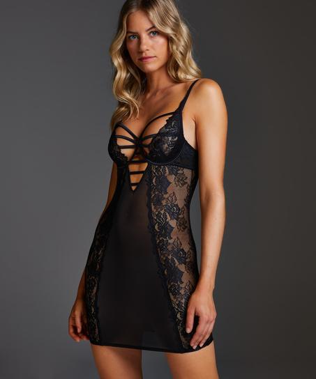 Sosha Padded Underwired Slip Dress , Black