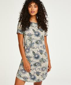 Short Sleeved Jersey Nightshirt, Beige