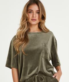 Top Velours Pocket , Green