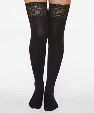 Hold-ups 50 Denier Fancy Ribbon, Black