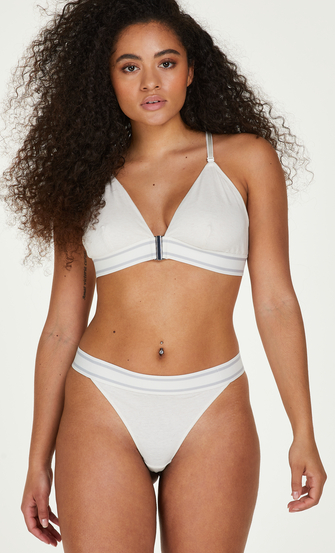 Casey cotton padded triangle bralette, White