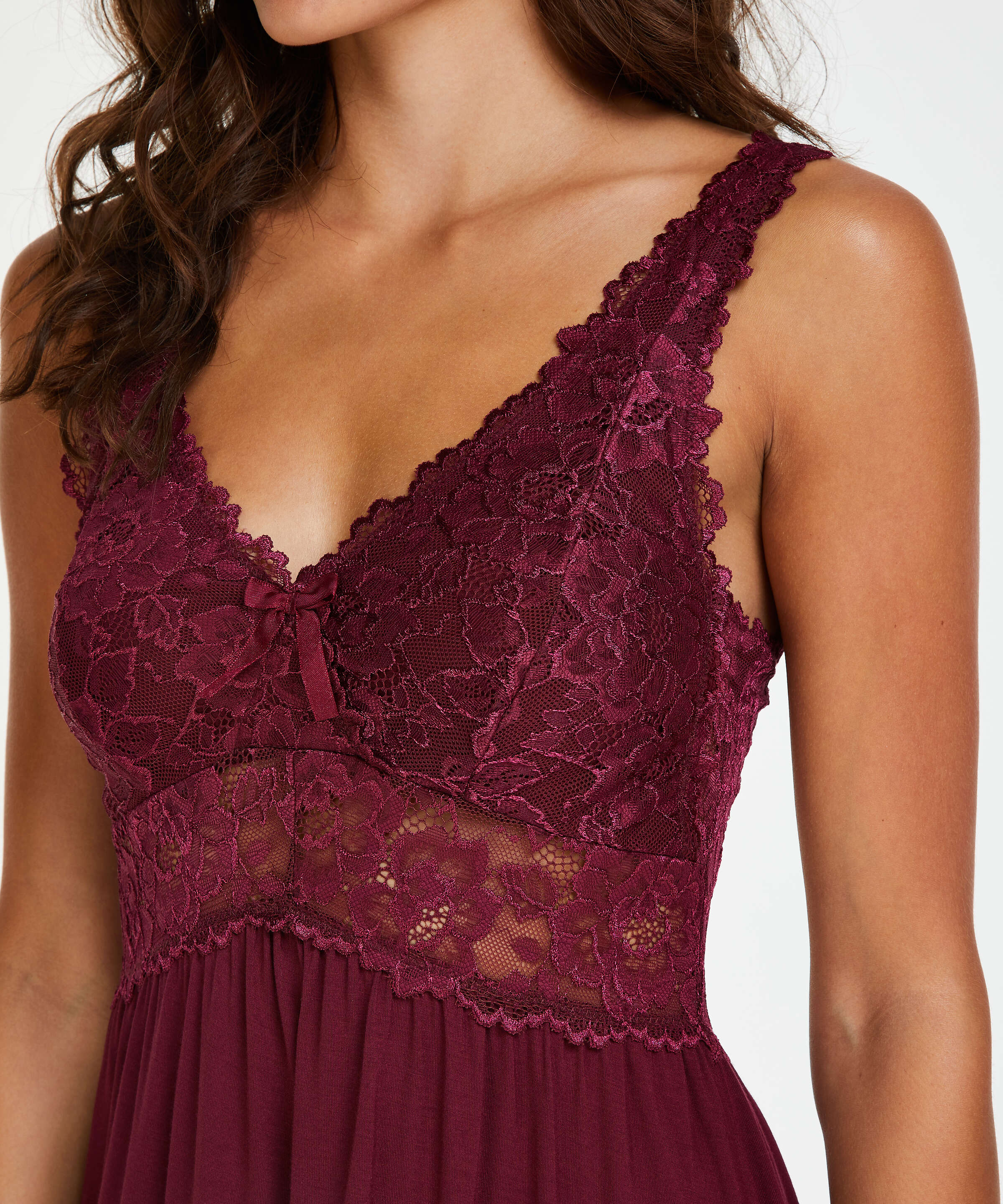 Modal Lace Slip Dress, Red, main