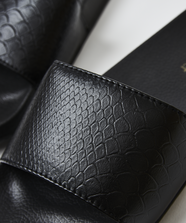 Snake print slippers, Black, main