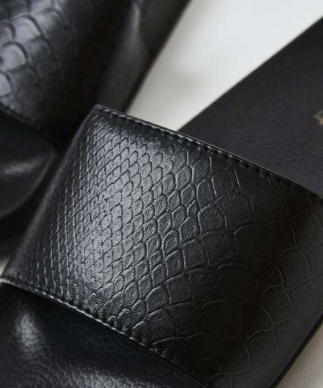 Snake print slippers, Black