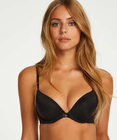 Plunge Padded Underwired Bra, Black