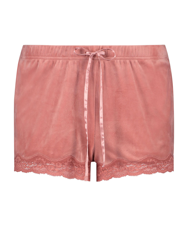 Velvet lace shorts, Pink, main