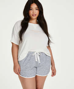 Short sleeve pyjama top in brushed jersey, White