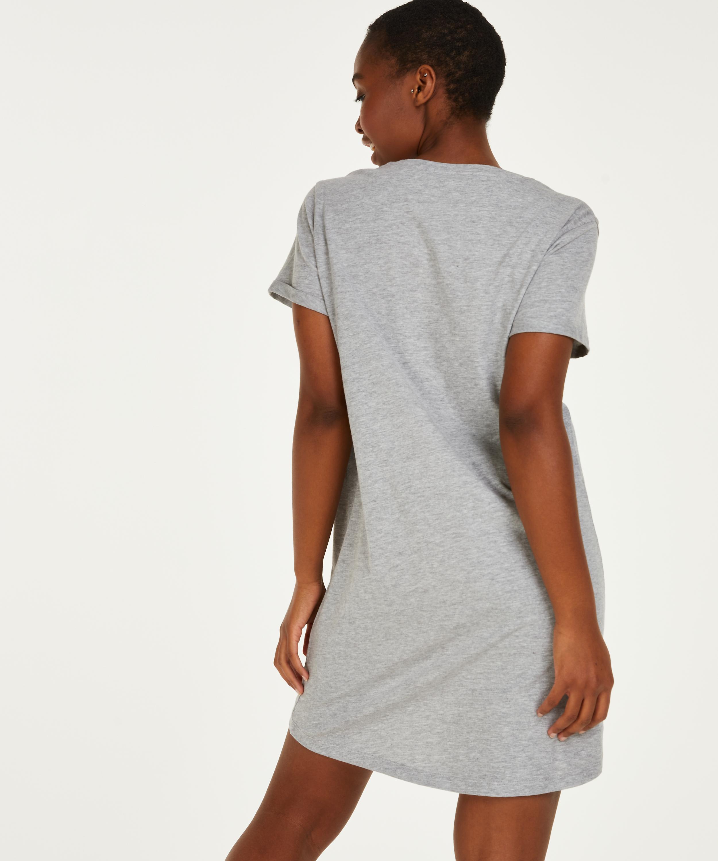 Round Neck Nightshirt , Grey, main
