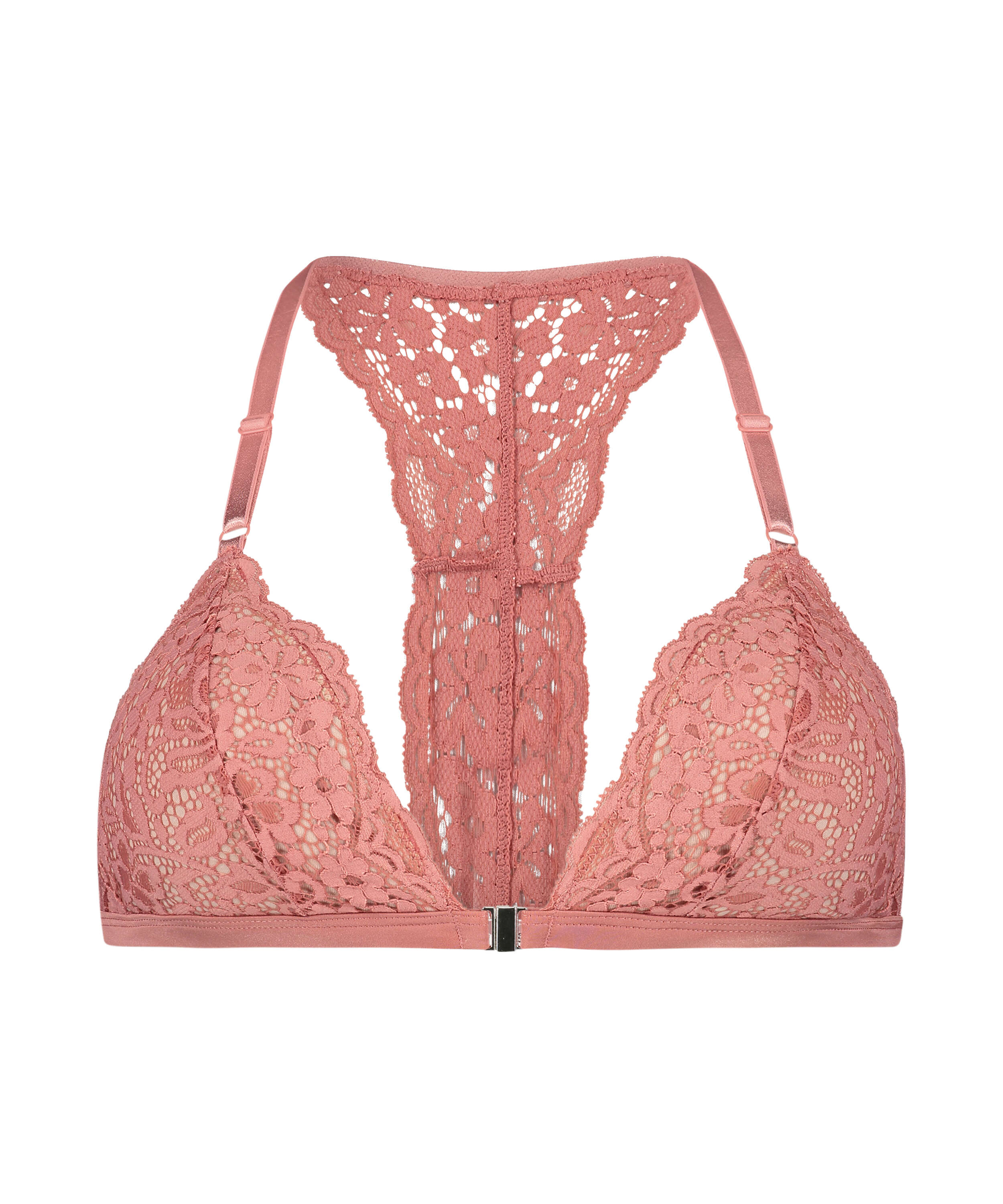 Rose Padded Triangle Bralette, Pink, main