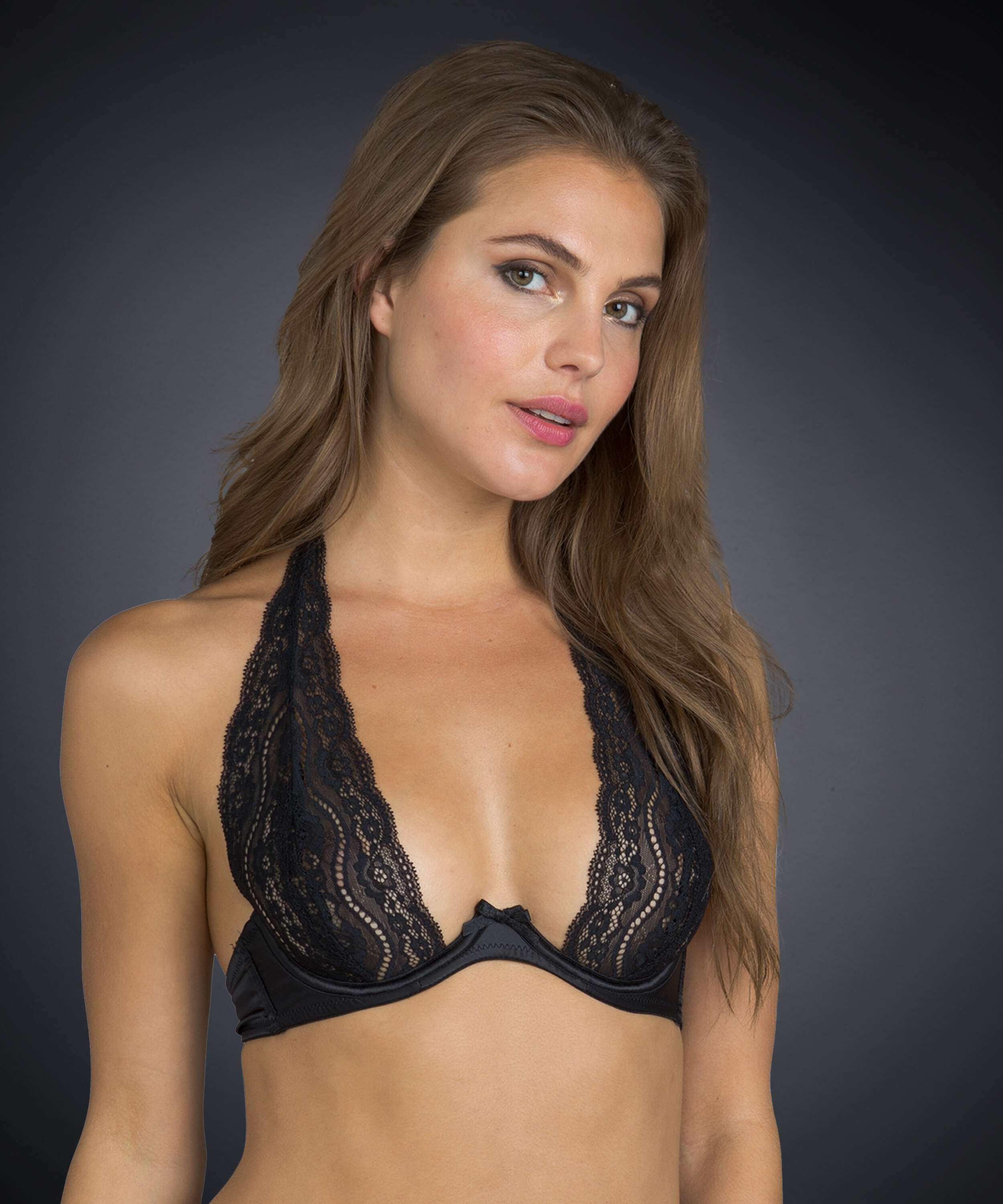 Non-padded underwired bra Jade lace, Black, main