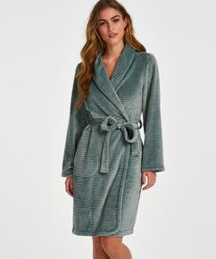 Short Fleece Ribbed Bathrobe, Green