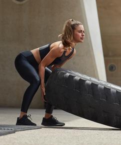 HKMX High waisted sports leggings Shine On, Black