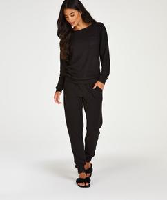 Brushed Waffle Pyjama Pants, Black