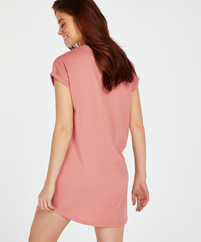 Round Neck Nightshirt , Pink, main