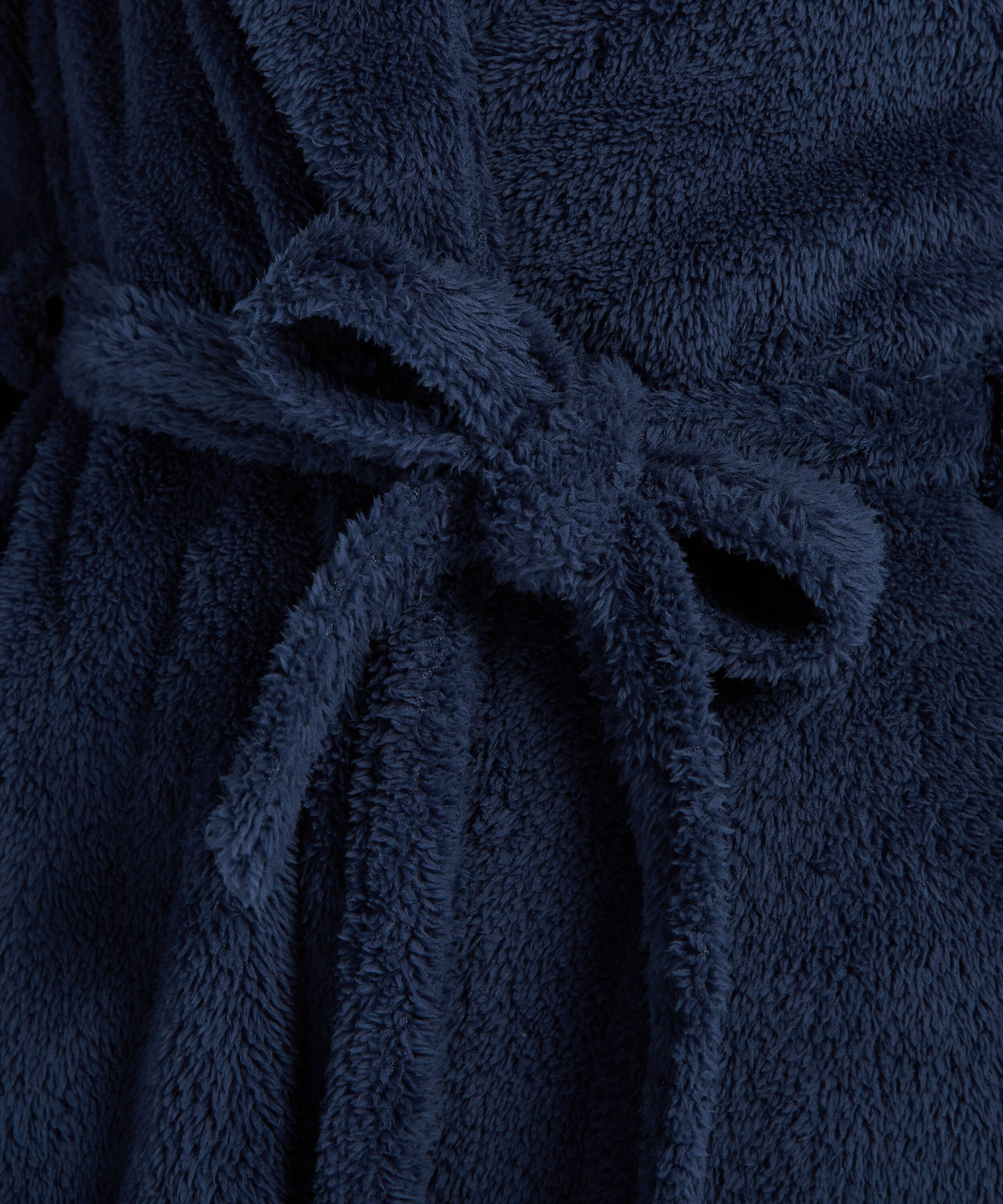 Long Fleece Bathrobe, Blue, main