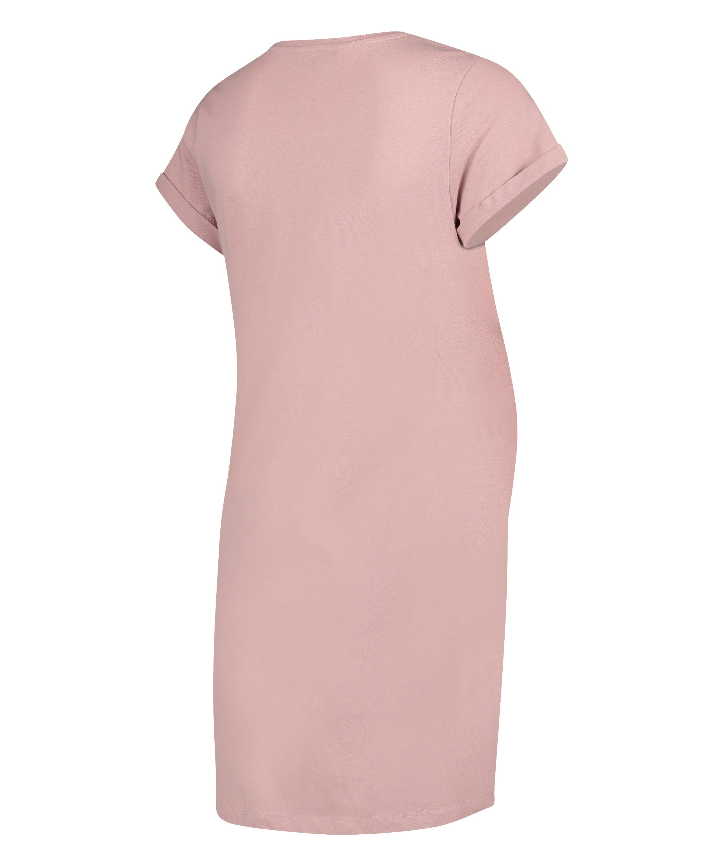 Short-Sleeved Maternity Nightshirt, Pink, main