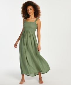 Smocked maxi dress, Green