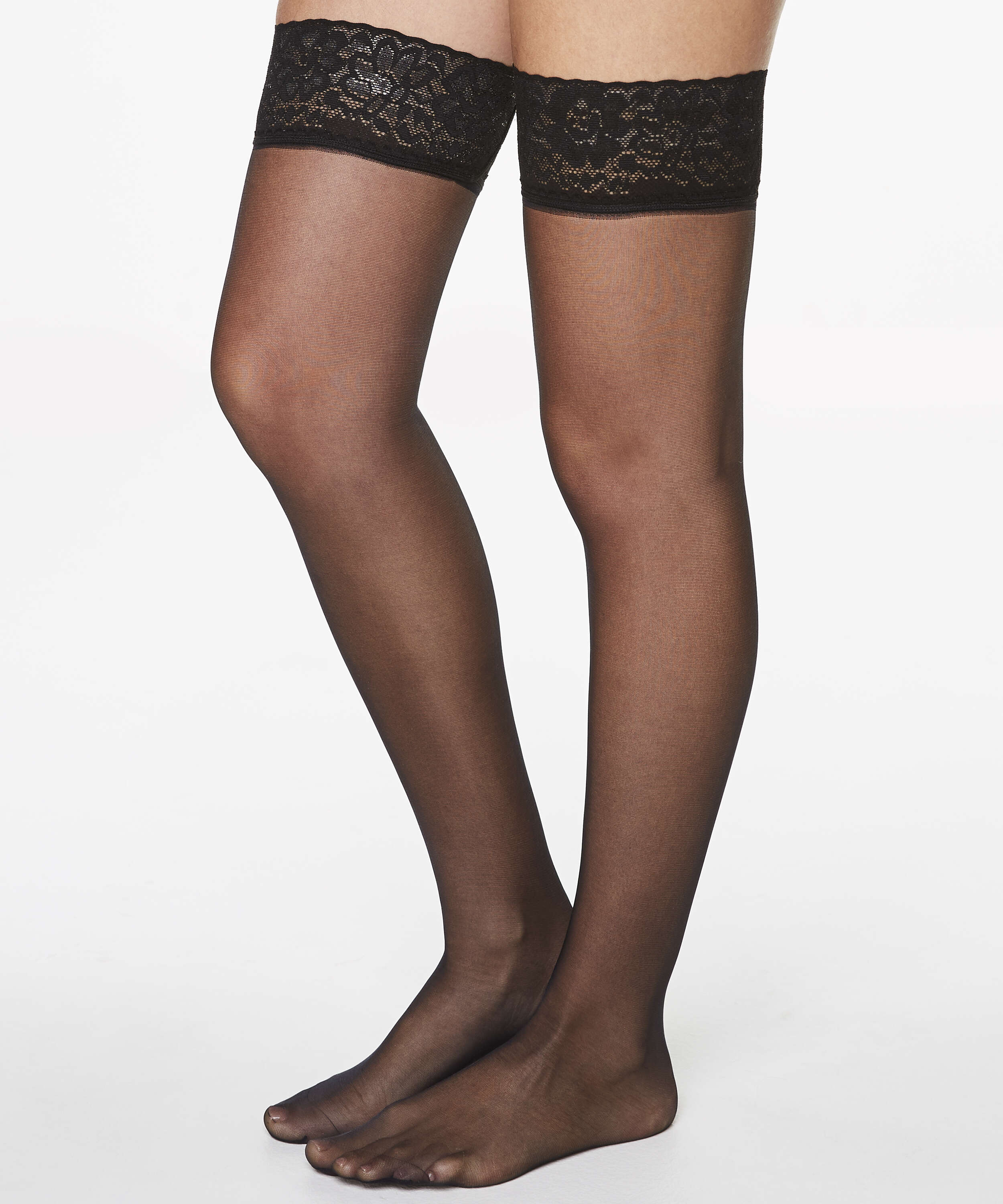 Stay-up 15 Denier Lace Anti Ladder, Black, main