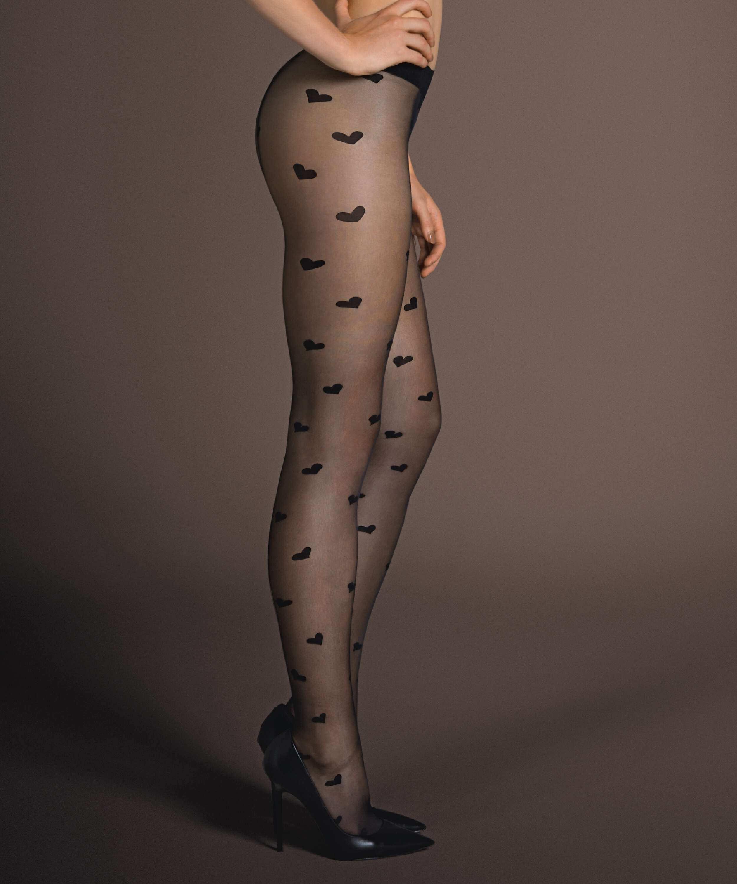 Tights Hearts, Black, main