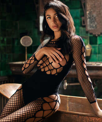 Private Chastity Fishnet Catsuit  , Black