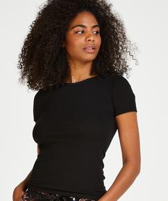 Ribbed Crew Neck Short-Sleeved Pyjama Top, Black