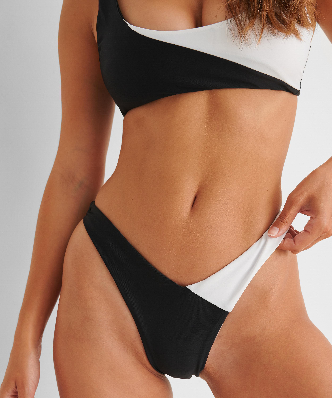 High-cut Rio bikini bottoms 2Tone HKM x NA-KD, White, main