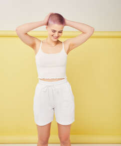Snuggle Me Bermuda Shorts, White