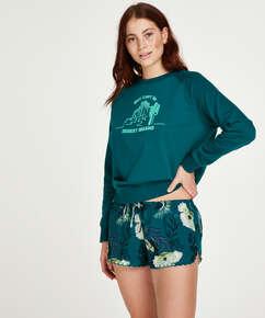 Lotus Bird Short Pyjama Pants, Grey