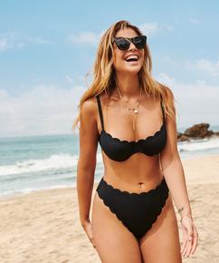 Scallop Glam high-leg bikini bottoms, Black