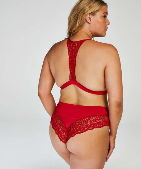 Rose Padded Triangle Bralette, Red