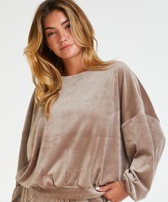 Lurex velours top, Brown