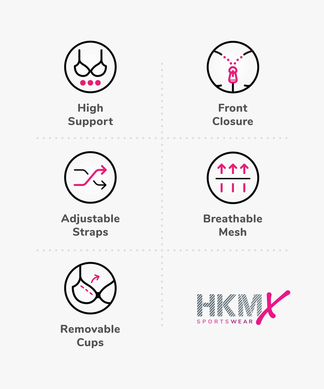 HKMX Sports bra The Pro Level 3, Black, main