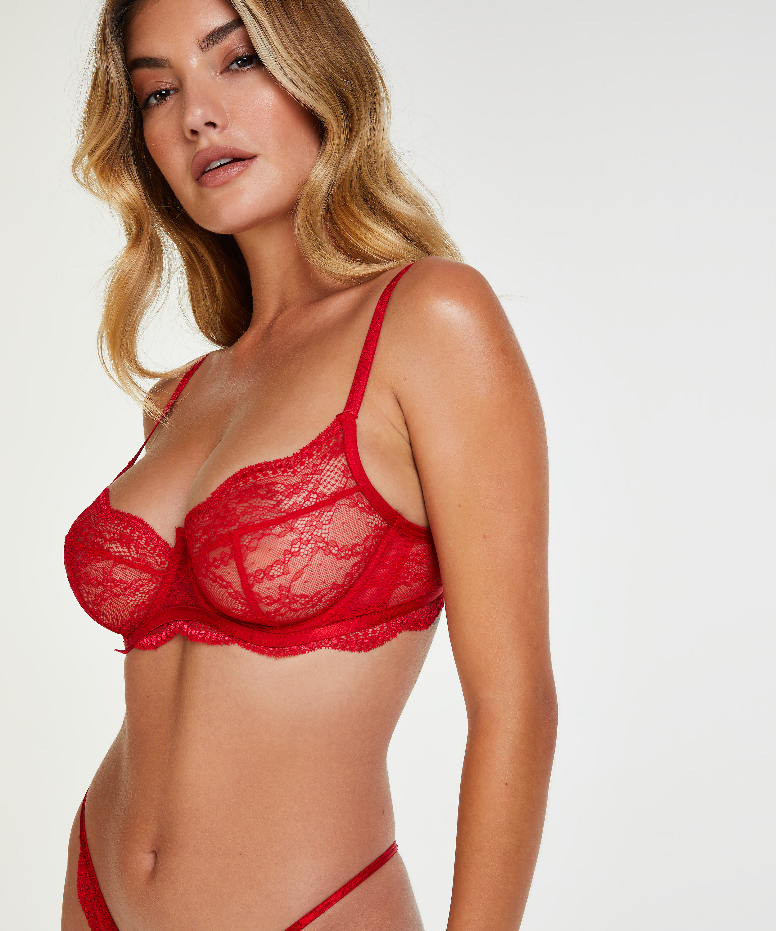 Isabelle non-padded underwired bra, Red, main