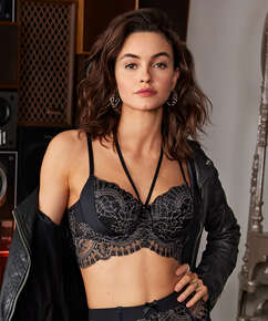 Coco Padded Longline Underwired Bra, Black