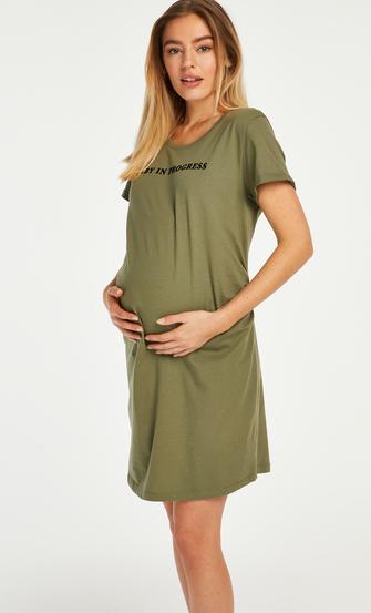 Short-Sleeved Maternity Nightshirt, Green