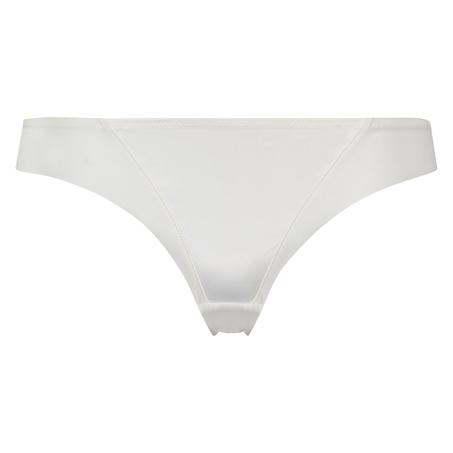 Satin fleece thong, White