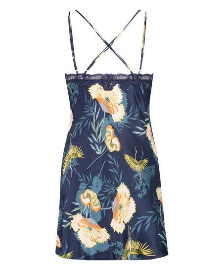 Lotus Bird Slip Dress, Blue