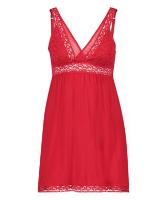 Grafic jersey lace slip dress, Red