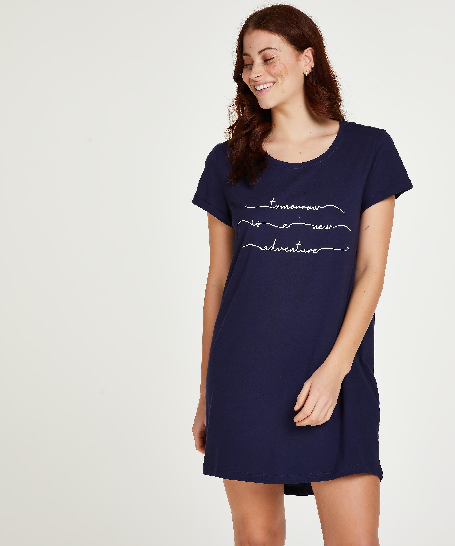 Round Neck Nightshirt , Blue, main