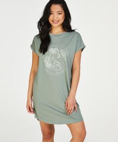 Round Neck Nightshirt , Green
